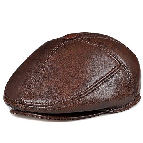 Meine Damen Damen Damen Leder Mützen Herren im mittleren Alter Hüte Barette Freizeitaktivitäten Caps Winter Unisex in Richtung, XL (58-59 cm), Mini Braun