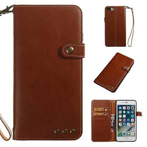 Hülle für iPhone 7 plus , Schutzhülle Für IPhone 7 Plus, Retro Style verrückte Pferd Textur Fall PU Leder Flip Stand Fall mit Geldbörse Tasche & magnetische Verschluss & Lanyard ,hülle für iPhone 7 pl Brown