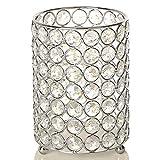 VINCIGANT Weihnachten Kristall Kerzenhalter Silber Teelichthalter Vasen mit 2 M Warme Weiße String Licht für Hochzeit Tischdeko