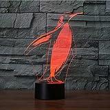 Jinson well 3D pinguin Lampe optische Illusion Nachtlicht, 7 Farbwechsel Touch Switch Tisch Schreibtisch Dekoration Lampen perfekte Weihnachtsgeschenk mit Acryl Flat ABS Base USB Kabel kreatives Spielzeug