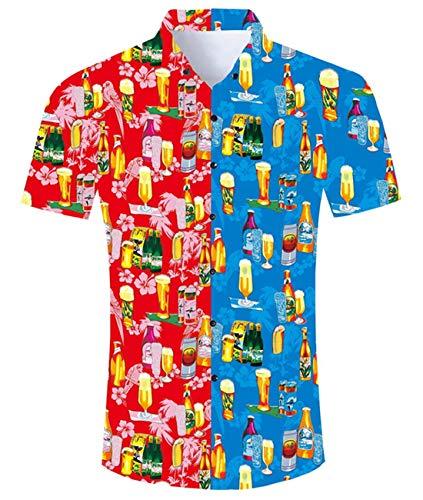 Idgreatim Männers Männer Hawaiian Hemden Shirt gedruckt Kurzarm Button Down Retro Floral Classic Design Herren Blusen