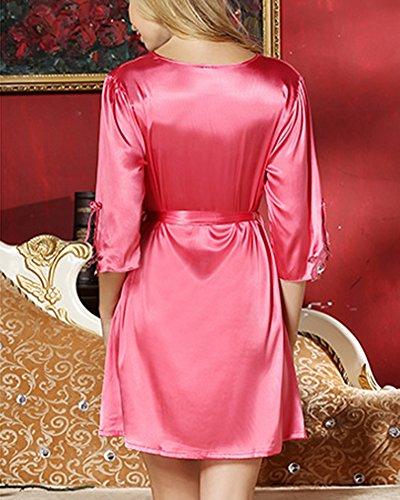 Damen Spitze Negligee Nachthemd Nachtwäsche Nachtkleid Aus Satin Koralle Rot
