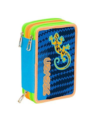 Astuccio scuola seven - gecko boy - 3 scomparti - pennarelli matite gomma ecc.. blu