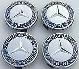 4x Original Mercedes Benz Radzierdeckel Lorbeerkranz blau Kappe Deckel Nabendeckel Radnabenabdeckung Wheel Cap Radnabendeckel Zierdeckel blau A1714000125 5337 Stern mit Lorbeerkranz HUB CAP...