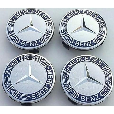 4x Original Mercedes Benz Cubierta de rueda Corona de laurel azul Cubierta TAPA Tapacubos Cubierta del cubo de la rueda Wheel CAP Cubiertas de eje de ruedas Tapa decorativa azul A1714000125 5337 Estrellas con Corona de laurel HUB Tapa Clase E Clase C CL CLS SLK ML GLK Clase A Clase B W204 W212 W210 W221 W220 C209 W207 W246 Diámetro: 75mm