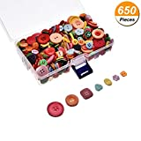 650 Pieces Resin Buttons Assorted Colors and Shapes Buttons with Plastic Storage Box, 2 Holes and 4 Holes