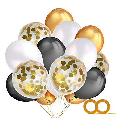 MAKFORT 40 Stück Luftballoons Schwarz Gold Weiß mit Konfetti Ballons und 2XLuftschlangen Helium Ballons für Geburtstag Hochzeit Halloween Party Deko Gold Schwarz Party Dekoration (Ballons Gold Schwarz Und)