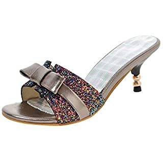 AIYOUMEI Damen Glitzer Kitten Heel Sandalen mit Schleifen Pantoletten Kleiner Absatz Schuhe Slippers Peep Toe Slingback