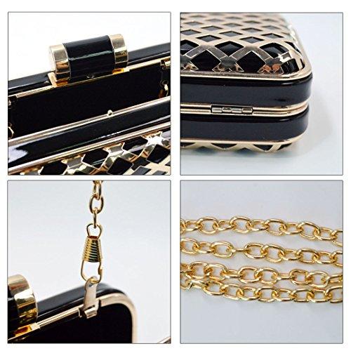 Milya Kleine Metall Umhängetasche PU-Leder Schultertasche Damen Clutch Leder Einfach Handtasche abziehbar Handbag Crossbody Multifunktionale kette-Tasche Schwarz