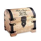 Casa Vivente – Geld-Schatztruhe zur Hochzeit mit Gravur – Motiv: Tauben – Personalisiert mit [Namen] und [Datum] – Schmuckkästchen aus hellem Holz – Verpackung für Geldgeschenke zur Hochzeit