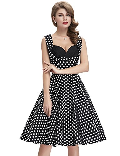 Frauen 50s Retro A-Linie Baumwolle Partykleid Mode 1950er M CL008901-11 -
