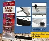 Roll up Display 200cm +Druck +Tasche Design Banner Werbeständer Rollup Ständer Klemmleiste Aufsteller Werbung 12A09_2, Roll up Größe:100cmx200cm;Designerstellung:ja