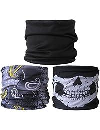 (3 PACK) Multifunctional Headwear...Plain Black / Grey & Yellow Paisley / Skull Jaw