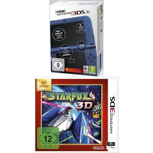New Nintendo 3DS XL metallic blau(TN Variant) + Star Fox 64 3D - Nintendo Selects