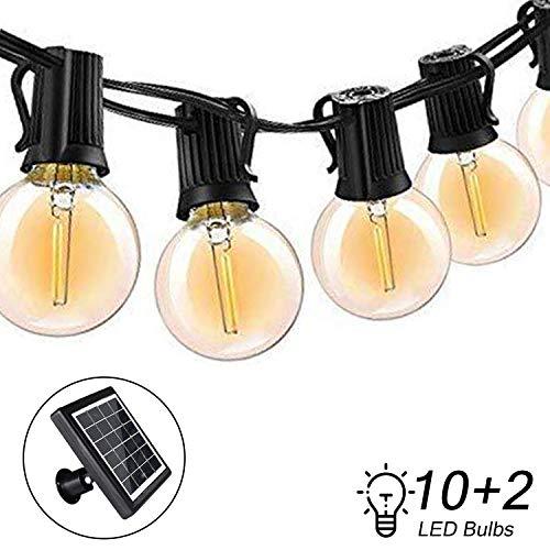 Bomcosy LED Solar Lichterkette Außen,G40 Lichterkette Glühbirne Retro 18FT/5.4M IP65 Wasserdicht,10+2 0.2W LED Birnen E12 Warmweiß 2700K Beleuchtung für Innen und Außen Deko Garten Hochzeit -