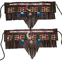 CUBREBOTAS ETNICO - COUNTRY. LARGO MARRON SOL Y LUNA, Handmade. Color de polipiel a elegir en opciones.