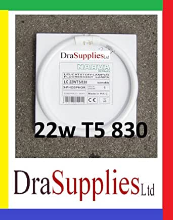 22 W T5 Tube fluorescent circulaire, 225 mm de diamètre, 4Pin 2 GX13 Blanc chaud Fixation