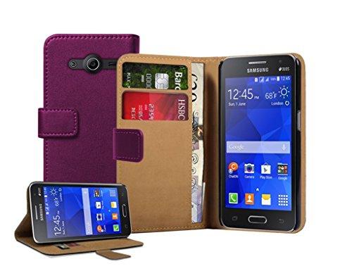 Membrane - Lila Brieftasche Klapptasche Hülle kompatibel mit Samsung Galaxy Core II (SM-G355H / Galaxy Core 2 Dual SIM) (G3556D, G3559, Duos, G3558) + 2 Displayschutzfolie (Etui Samsung Galaxy Core 2)