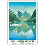 Acs Nordkapfahrt (Nordkap Reise) - Hapag-Lloyd Kreuzfahrten - Norwegen Fjordkreuzfahrt - Vintage Retro Dampfschiff Kreuzschiff Reise Plakat Poster von Albert Fuss c.1957 - Kunstdruck - 33cm x 48cm