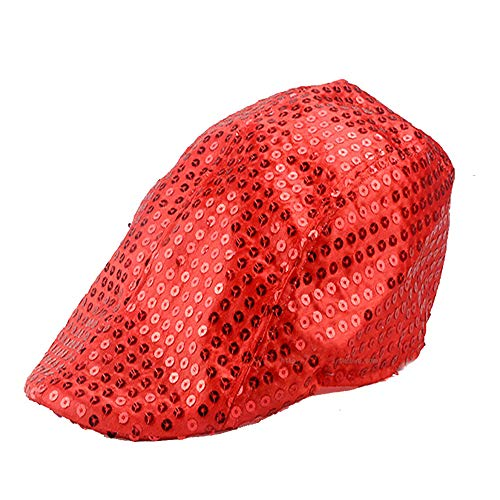 Jazz Party Kostüm - Zylinder Pailletten Jazz Dance Erwachsene Kinder, Golden Silver High Hat Stage Show, Frauen Männer Unisex Erwachsene Glitter Pailletten Jazz Hut Kostüm Party Cap,Red,M