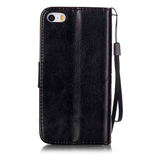 Mk Shop Limited Coque pour iPhone 5 5S,,PU Cuir Flip Magnétique Portefeuille Etui Housse de Protection Coque Étui Case Cover avec Stand Support pour Apple iPhone 5 5S, Multi-couleur 1