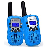 Upgrow Walkie Talkies 8 Channel 2 Way Radio Kids Toys Wireless 0.5W PMR446 Long Distance Range Walkie Talkie for Field Survival Biking and Hiking (T388-Blue, without batteries and charger)