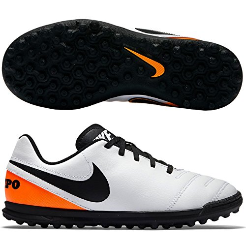 Nike Jr Tiempox Rio Iii Tf, Chaussures de Foot Mixte Bébé, Vert Blanc Cassé - Blanco (White / Black-Total Orange)