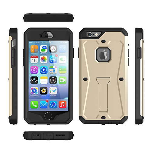 iPhone Case Cover 2 In 1 New Armour Tough Style hybride double couche d'armure Defender PC cas dur avec support cas anti-chocs pour IPhone 6 6 ( Color : Gold , Size : IPhone 6s ) Gold