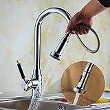 Küchenarmatur herausziehbarer Geschirrbrause 2 Strahlarten Hochdruck Hoher Auslauf 360°Schwenkbereich aus Messing verchromt Armatur Küche