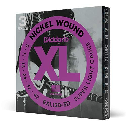 D'Addario EXL120-3D - Juego de cuerdas para guitarra eléctrica de acero y...