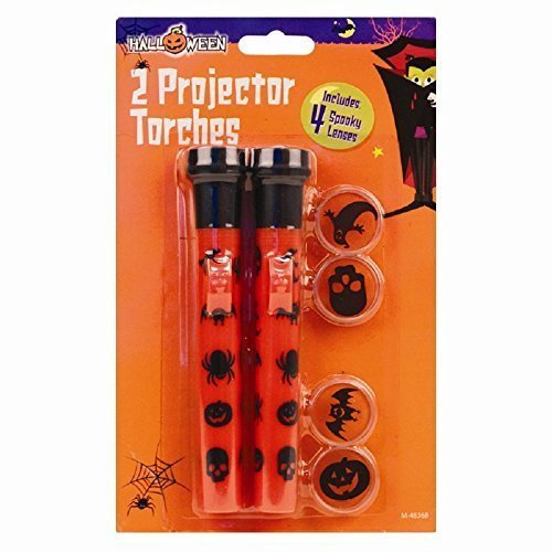 Halloween Projektor Taschenlampe Set - 2 fackeln & 4 gläser