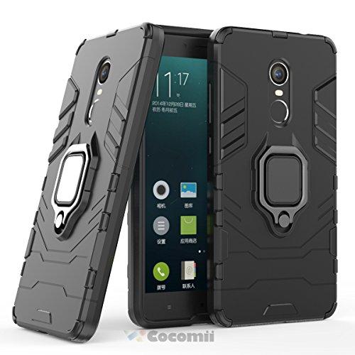 Cocomii Black Panther Armor Xiaomi Redmi Note 4/Note 4X Hülle [Strapazierfähig] Ring Ständer [Funktioniert Mit Magnetischer Autohalterung] Case Schutzhülle for Xiaomi Redmi Note 4 (B.Jet Black)