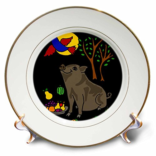 3drose-cp-200566-1-funny-grey-pot-bellied-pig-with-food-bluebird-overhead-porcelain-plate-8