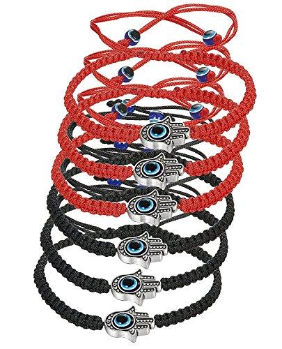 BESTEEL 6 Pcs Hamsa Bracelet Homme Femme Tressé Rouge Noir Mauvais Oeil Bracelet Porte Bonheur Meilleure Amie