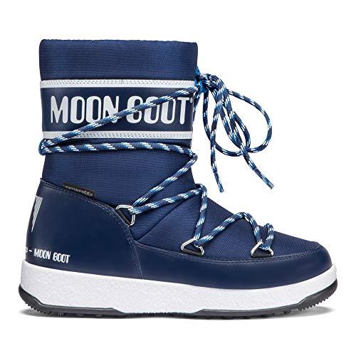 Moon-boot Jungen We JR Boy Sport WP Schneestiefel, (Blu Navy/Bianco 002), 37 EU
