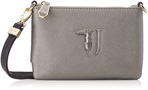 Trussardi Jeans Ischia, Pochettes femme, Grigio (Gunmetal/black), 20x17x3 cm (W x H L)