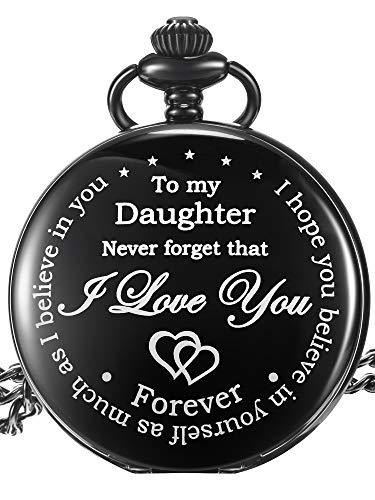 Pangda Inspirierendes Geschenk to My Daughter Never Forget That I Love You Stahl Taschen Uhr, Personalisierte Tochter Geschenk von Mutter Vater (Schwarzes Zifferblatt)