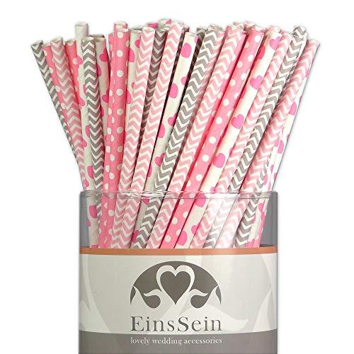 strohhalme Ready-Mix Candyman Hochzeit Party Geburtstag Strohhalme Trinkhalme Cake Pops Sticks und Candy Bar-Zubehör Stiele Papier Pappgeschirr Straws ()