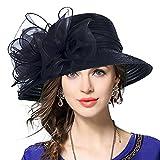 Femmes Oaks Derby Robe Église Cloche Capelines Bowler Chapeaux de Mariage (Noir)