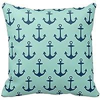 Navy And Coral Greek Key Script Monogram Pillow Case