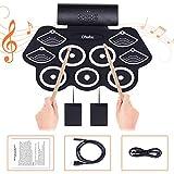 Elektronisches Schlagzeug für Kinder und Erwachsene, Ohuhu 9 Pads Tragbare Roll Drum Kit mit Kopfhörerbuchse, integriertem Lautsprecher, Schlagzeugpedalen und Drumsticks