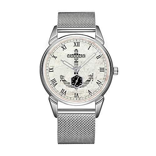 Mode Herrenuhr silbrig Edelstahl wasserdicht Uhr Herren Top-Marke Herrenuhr Uhr Aztec Nautical Anchor Schwarz Weiß Vintage Holz Armbanduhr