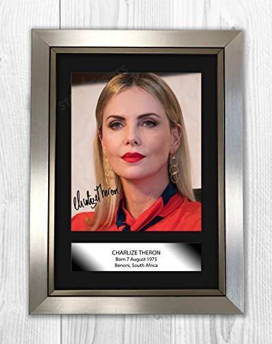 aba810e77 Charlize Theron Poster Signed Autograph Reproduction Photo A4 Print (Silver  Frame)