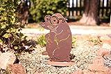 Maulwurf mit niedlichen Details - 24cm/ Bodenplatte: Wunderschöne Gartenfigur zu verwenden als Garten Deko, im Blumenkasten auf dem Balkon oder als Dekoration auf Ihrer Terrasse oder in der Wohnung - Dekoidee von Manufakt-Design