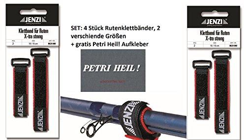 Jenzi Set: 4 Stück Rutenklettband X-tra Strong + gratis Petri Heil! Aufkleber