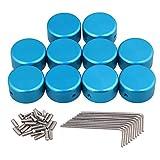 Yibuy blu cappuccio di protezione in lega di alluminio chitarra effetti per chitarra pedale box piede in metallo, confezione da 10