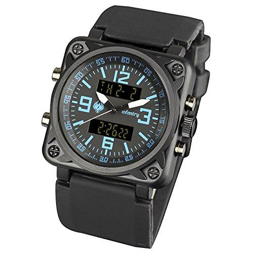 Infantry Herren Analog-Digital Armbanduhr Datum Tag Chronograph Stoppuhr Armee Alarm Outdoor Stoppuhr Gummi Armband