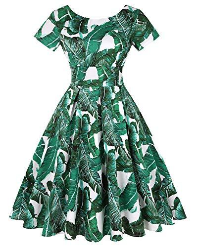 MINTLIMIT Damen Retro Vintage Stil Kurze Ärmel Abendgesellschaft Evening Schwingen Kleid (Floral Grün,Größe L)