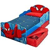 Spiderman Kleinkind Bett mit Aufbewahrung und Leuchten Augen Plus Voll entsprungen Matratze