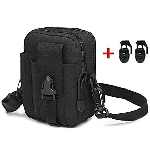 Heyqie(TM) 1000D Nylon [Upgrated] Outdoor Tactical MOLLE Holster EDC Carry Accessory Tool Waist Bag Belt Pack Pouch Case with Shoulder strap for Smart Phones & Accessories - Black